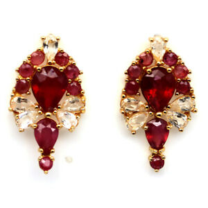 NATURAL 7 X 9 mm. RED RUBY & WHITE TOPAZ 925 STERLING SILVER EARRINGS