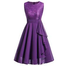 Womens Ladies O-Neck Sleeveless Formal Wedding Bridesmaid Lace Long Dress Zip DA