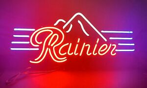 "1993 Vintage Rainier Mountains Beer Bar Pub Tavern Neon Sign 39""x18"" EVERBRITE"