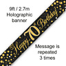 70th Birthday Party Sparkling Age 70 Black & Gold Foil Bunting Banner Decoration