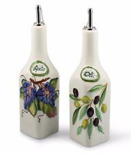 Bassano Oliven Essig & Öl Set 0,5l Ausgefallene italienische Keramik Aceto Olio