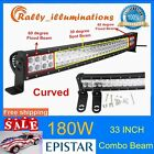 33inch 180W CURVED LED WORK LIGHT BAR FLOOD SPOT COMBO OFFROAD TRUCK LAMP 4WD RY
