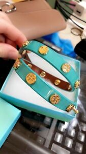 Tory Burch Wrap Around Leather Bracelet blue turquoise gold