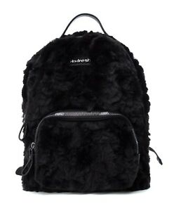 Refresh NEW black faux fur fashion backpack shoulder bag handbag BNWT 83232