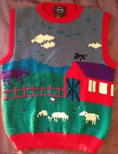 Allen Solly Women's Red Sweater Vest Pure Wool Red Barn Farm England Size L Rare