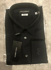 Dolce and Gabbana Mens Shirt Black Size 16.5 (42) Double Cuff