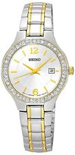 SEIKO SUR783P1 ladies crystal set deux tons montre, garantie de 2 ans rrp £ 230.00