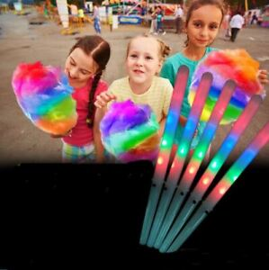 10x LED Cotton Candy Floss Glow Sticks Light Up Flashing Cone Fairy Party Fun UK