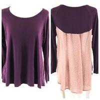 Gilli Stitch Fix Womens Top Long Sleeve Semi Sheer Floral Purple Pink Hi Lo M