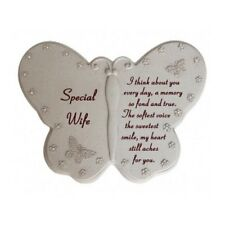 David Fischoff Special Wife Diamante Butterfly Book Grave Memorial Ornament