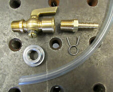 Brass Petcock Fuel Hose KIT Gas Stop Cock Needle Valve 1/4 NPT Motorcycle Harley