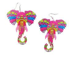 African Elephant Wood Earrrings, Light Weight Natural Wooden Earrings, 3 Inch