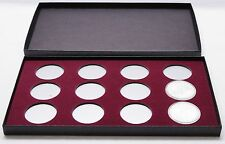 BOX FOR COINS IN AIRTITE CAPSULE HOLDERS 12 I BURGUNDY American Silver Eagle