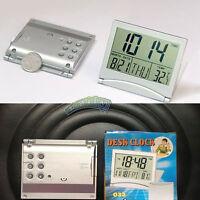 Silver Digital Folding Desk Alarm Clock Date Thermometer Calendar Stop Watch