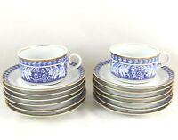 HTF 6 SETS CUPS & SAUCERS VINTAGE BLOCK SPAL OBIDOS CHINA BLUE WHITE LAUREL GOLD