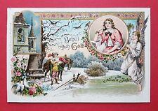 Glückwunsch Litho AK NEUJAHR 1900 Trompeter mit Engel Schutzengel    ( 33043