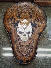 100% Custom handmade leather tooled bobber chopper seat lt br. Skull filigre