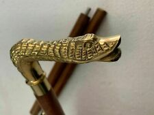Vintage Style Snake Head Solid Brass Walking Stick Wood Shaft Antique Cane Gift