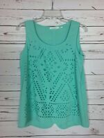 Blu Pepper Boutique Women's S Small Aqua Spring Summer Sleeveless Cute Top Tank