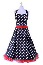 Vintage 1950s 60s Rockabilly Black White Red Polka Dot Halter Neck Party Dress