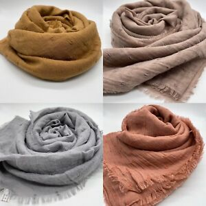 Plain Cotton hijab Style Maxi Plain Scarf Hijab Sarong Large Frayed Edge