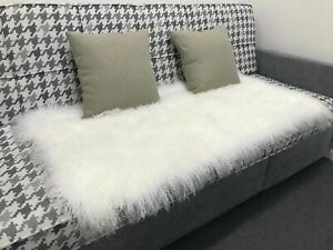 2'x4' 100% Real Mongolian Tibet Lamb Fur Bleached White Rug Plate Throw Genuine