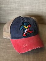 GRATEFUL DEAD Trucker Hat Bear Embroidered Patch Cap Music Band Distressed