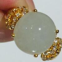 6.69 Carat Estate Vintage 14K Yellow Gold Jade Diamond Cocktail Ring Jewelry 884