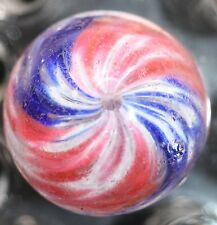 """GERMAN MARBLE HANDMADE END OF DAY ONIONSKIN MARBLE Red, White, and Blue 1.09"""""""