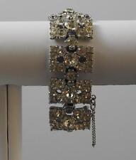 "Vintage Statement Bride Bracelet Silver Tone All Clear Rhinestones About 7"" G2"