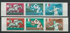 More details for postage stamps qatar 2 imperforate strips of 3 stamps each olympics mexico 1968