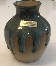 Vintage Studio Stoneware Vase Blue Hearts \u2022 Handmade Signed Weed Pot \u2022  Cornflower Blue Country Cottage Design