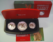 Australien Lunar II 3 coin setJahr des Hasen Year of the Rabbit COA+Box