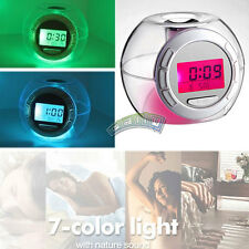 7 Color Light Changing Digital Thermometer Snooze Alarm Clock With Nature Sound