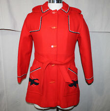 Red Wool Coat Jacket Northern Sun Womens 12 Hooded Lined VTG Rare HTF Bird Goose