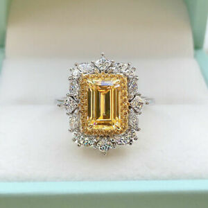 Solid 4.20Ct Emerald Cut Yellow Diamond Halo Engagement Ring 14K White Gold Over