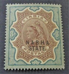nystamps British India Nabha Stamp # 23 Mint OG H $210   L23x2782