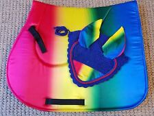 Rainbow Horse English Saddle Pad Set Matching Fly Bonnet Veil Ear Net Cotton
