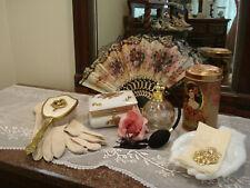 Ladies Vintage Vanity-Lrg Perfume- Floral Fan-Jewelry Pin Box-Tin-Glove-Brooch