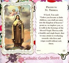 St Therese/Theresa the Little Flower - Scalloped trim - Paperstock Holy Card.