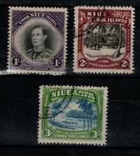 Niue New Zealand 1938 1/-, 2/-, 3/- Niue Cook Islands SG 75-77 Used