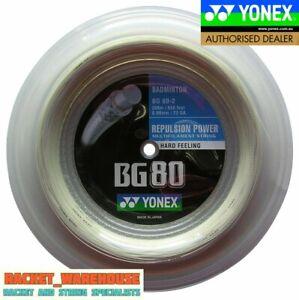 YONEX BG80 200M COIL BADMINTON RACKET STRING WHITE COLOUR