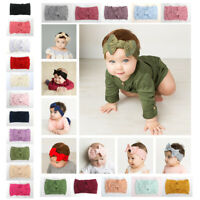 Cute Newborn Baby Turban Headwraps Big Bow Knot Girl Nylon Wide Headbands