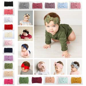 Cute Newborn Baby Turban Headwraps Big Bow Knot Girl Nylon Wide Headbands