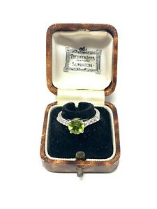 Stunning Vintage Sterling Silver 925 Peridot & White Topaz Ring Size O #752