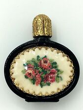 Vintage Viennese Petit Point Black Glass Mini Perfume Bottle w Dauber Austrian