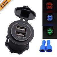 5V 4.2A Dual USB Charger Socket Adapter Power Outlet for 12V 24V Motorcycle Car.