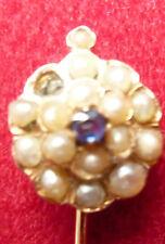 EPINGLE CRAVATE-TIE STICK PIN-OR-GOLD-vers 1930 -   SAPHIR & pavé de 1/2 perles