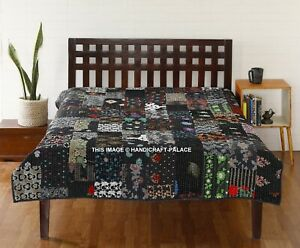 Indian Silk Sari Kantha Quilt Reversible Patchwork Bedspread Handmade Bed Cover