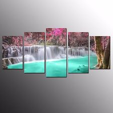 FRAMED Landscape Canvas Print Art Green Pool Wall Art Canvas Painting Print-5pcs